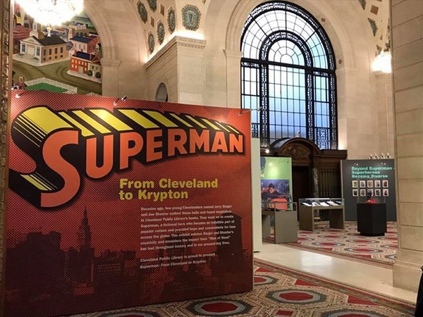 """. \""""Superman: From Cleveland to Krypton\"""" is on display in three floors of exhibits at Cleveland Public Library\'s Main Library, 325 Superior Ave. Take a look at memorabilia, art and artifacts  from the Mike Curtis Collection of Superman Memorabilia and other prominent collectors through March 31. The library is open 10 a.m. to 6 p.m. Monday through Saturday. For more information, visit cpl.org/superman. (Mark Podolski - The News-Herald)"""