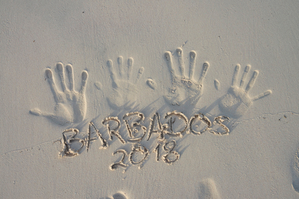 Hand prints in sand