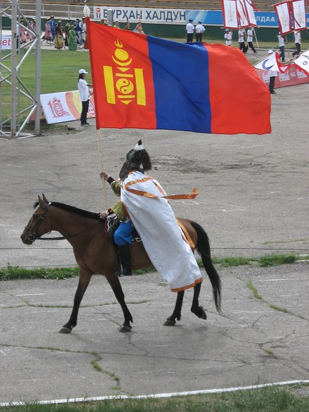 The Mongolian flag opening Nadaam games - Leslie Rowley