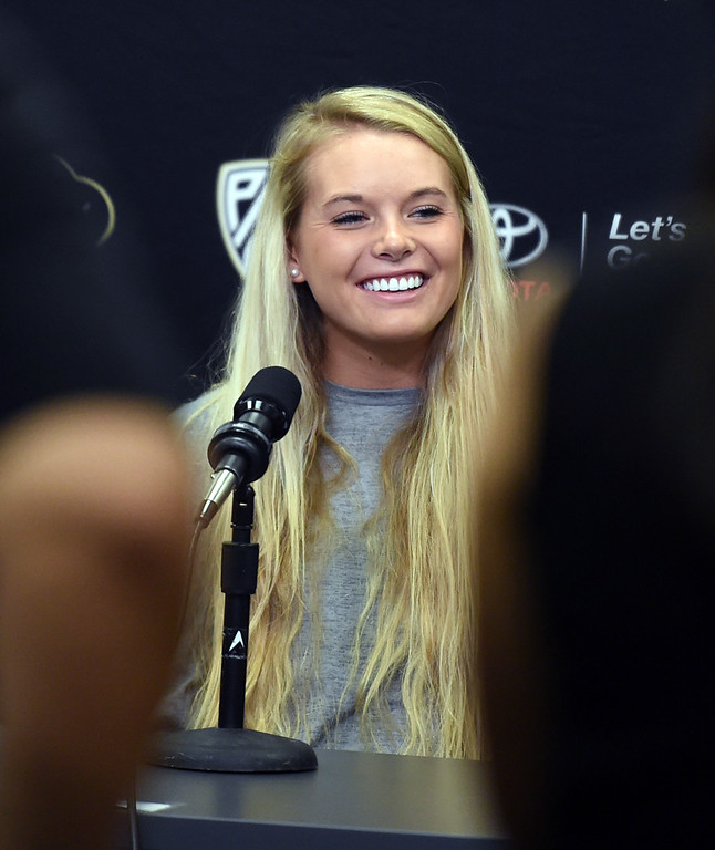 . Alexa Smith, of CU volleyball, during CU football and Fall sports media day. For more photos, go to dailycamera.com. Cliff Grassmick  Staff Photographer  August 4, 2018
