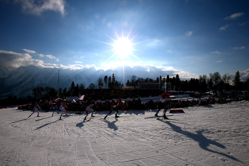 . Skiers compete in Finals of the Men\'s Sprint Free during day four of the Sochi 2014 Winter Olympics at Laura Cross-country Ski & Biathlon Center on February 11, 2014 in Sochi, Russia.  (Photo by Doug Pensinger/Getty Images)