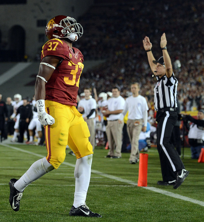 . USC�s Javorius Allen #37 reacts after scoring a touchdown in the first half during their game against Stanford at the Los Angeles Memorial Coliseum Saturday, November 16, 2013. (Photos by Hans Gutknecht/Los Angeles Daily News)