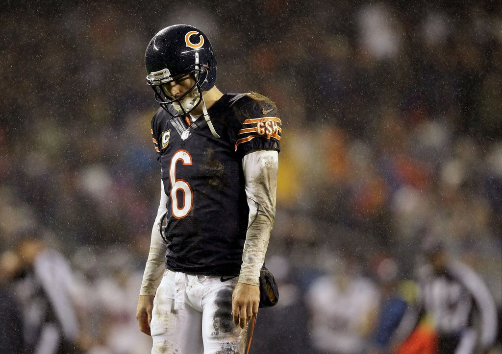 ". <p><b>CHICAGO BEARS</b> <p><i>�LEE DANIELS� THE CUTLER�</i> <p>Bear down, Chicago Bears <p>You grab defeat from the jaws of victory <p>Bear down, Chicago Bears <p>Your QB turns Super dreams to infamy <p>Your panicked reaction to a 10-6 season? <p>Ax Lovie for no reason <p>Bear down, Chicago Bears <p>Again this season will end with no crown <p>Taking one more dive on Lake Shore Drive <p>Chicago Bears, bear down! <p><b><a href=\'http://www.twincities.com/sports/ci_23875979/chicago-bears-jay-cutler-showing-same-old-bad\' target=""_blank\""> HUH?</a></b> <p>   (AP Photo/Nam Y. Huh)"