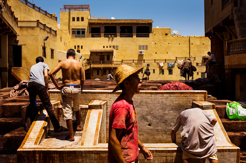 Workers at the Chouara tannery in the Medina in Fes, Morocco.