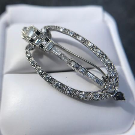 Art Deco Diamond and Onyx Brooch