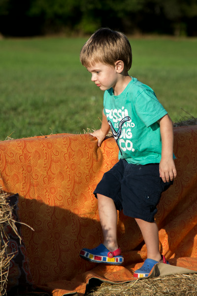 Noah jumping on the hay couch!