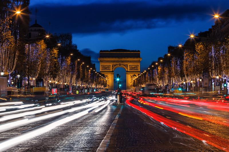 Champs Elysees and Arc de Triomphe, Paris, France.