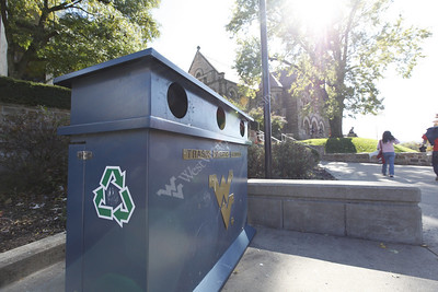 27438 Recycling bins outside Mountainlair