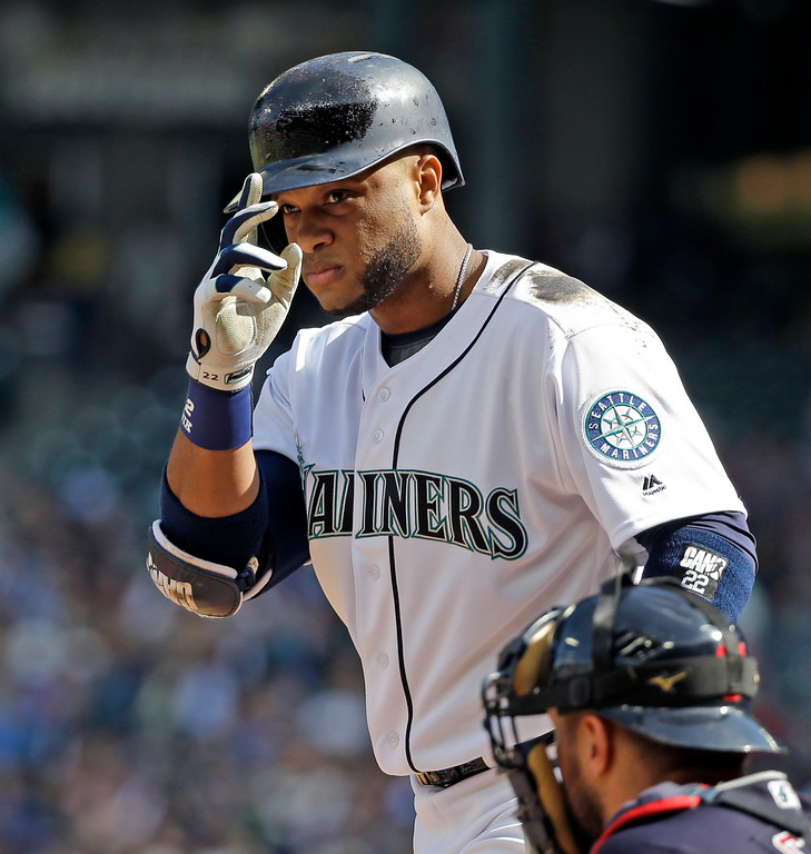 . Seattle Mariners\' Robinson Cano motions as he steps to the plate against the Cleveland Indians in a baseball game Saturday, Sept. 23, 2017, in Seattle. (AP Photo/Elaine Thompson)