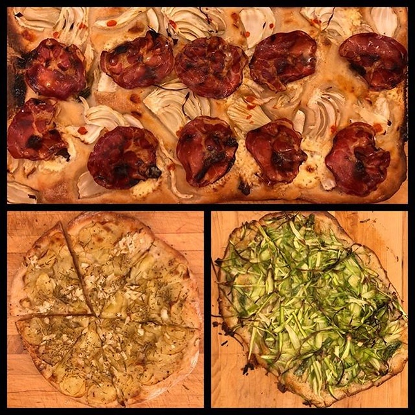 On the #Oscars table tonite: trio of pizzas! Top: Coppa, fennel, olive and mascarpone; bottom right: asparagus and brie; bottom left: potato and onion and Parmesan