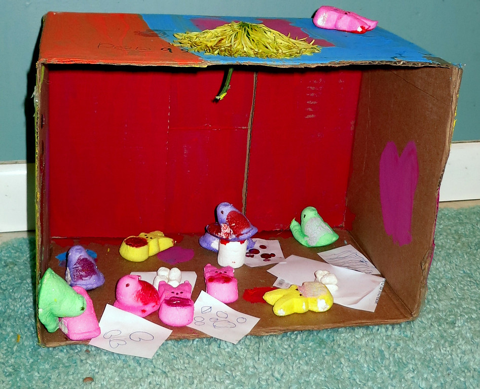 """. \""""Peeps in Art Class\"""" by Gina Ridgeway, age 6.  My mom did not help with the diorama, only taking the picture.   Gina Ridgeway"""