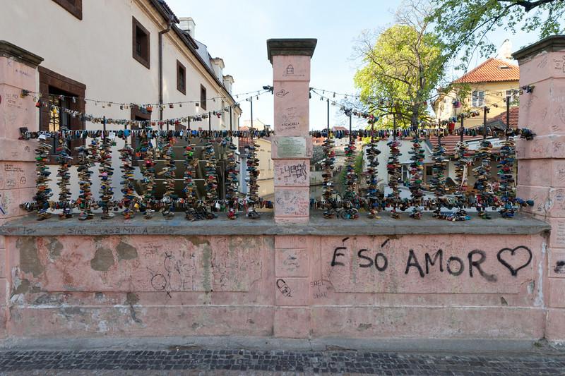 Love locks on a bridge in Prague, Czech Republic