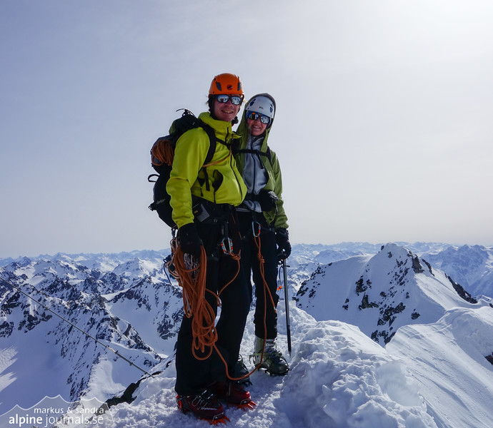 On the summit of Gr Piz Buin