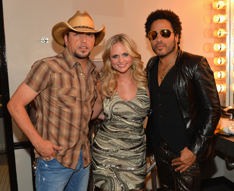 . NASHVILLE, TN - JUNE 05:  Jason Aldean, Miranda Lambert and Lenny Kravitz attend the 2013 CMT Music awards at the Bridgestone Arena on June 5, 2013 in Nashville, Tennessee.  (Photo by Rick Diamond/Getty Images)