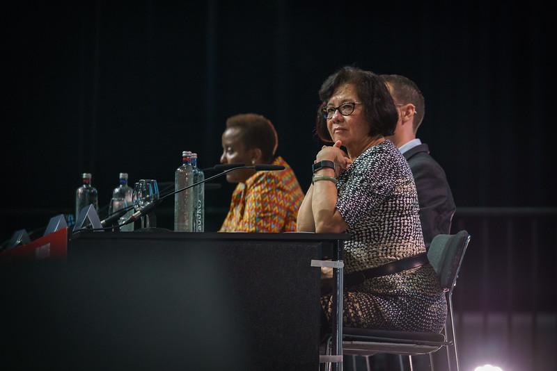 22nd International AIDS Conference (AIDS 2018) Amsterdam, Netherlands.   Copyright: Matthijs Immink/IAS Building bridges from scientific innovation to implementation Photo shows: Nduku Kilonzo Sandra Granger