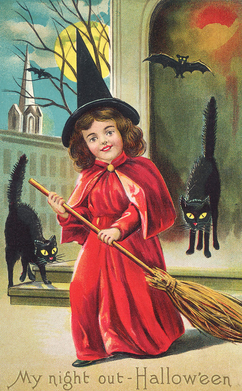 . An American Halloween greetings card depicting a girl dressed as a witch and surrounded by black cats and bats, circa 1910. The text reads: \'My night out - Hallow\'een\'. (Photo by Hulton Archive/Getty Images)