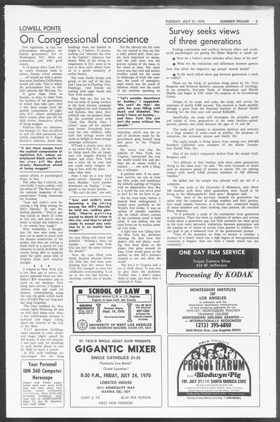 Summer Trojan, Vol. 62, No. 9, July 21, 1970