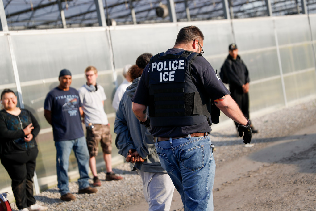 . A government agent walks by suspects in custody during an immigration sting at Corso\'s Flower and Garden Center, Tuesday, June 5, 2018, in Castalia, Ohio.  (AP Photo/John Minchillo)