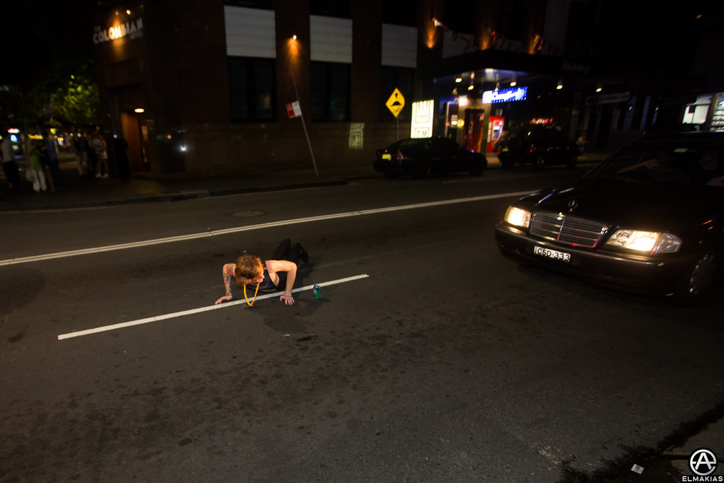 Alan planking in the middle of the road because he said he had done it once before here