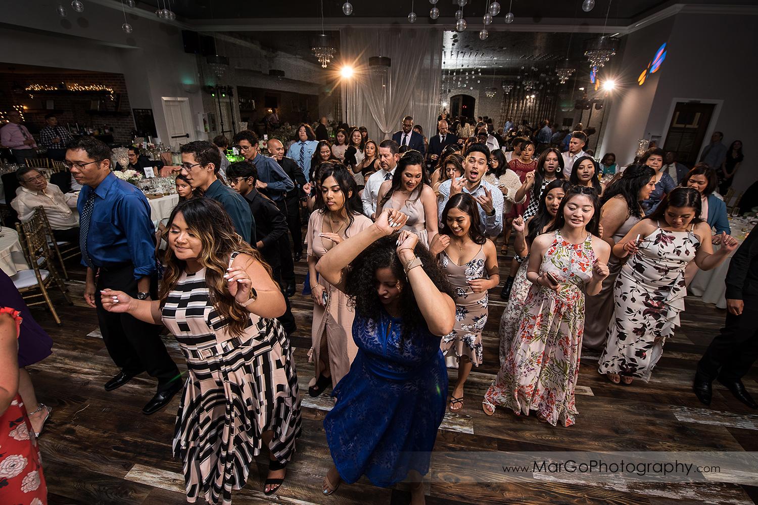 full dance floor during wedding reception at Sunol's Casa Bella