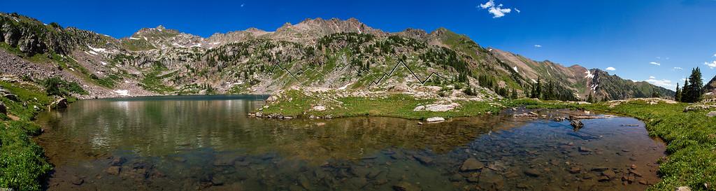 Panorama of Pitkin Lake, Gore Range, CO