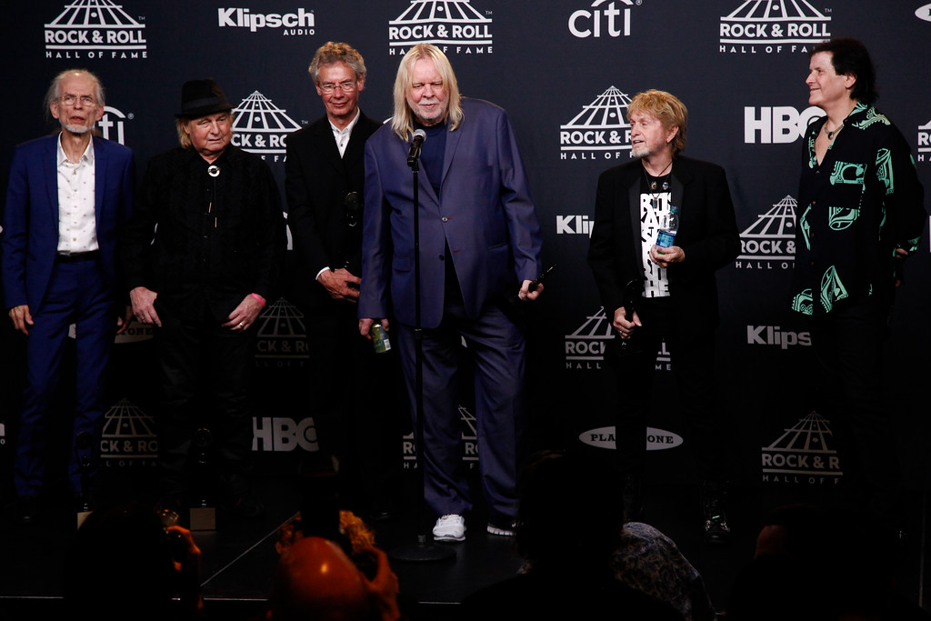 . Members of the band Yes pose in the 2017 Rock and Roll Hall of Fame induction ceremony press room at the Barclays Center on Friday, April 7, 2017, in New York. Yes performs Aug. 20 at Jacobs Pavilion at Nautica. For more information, visit www.nauticaflats.com. (Photo by Andy Kropa/Invision/AP)