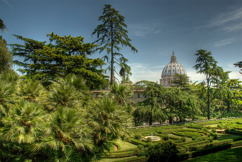 View of the St Peter's Basilica dome from the Vatican City Gardens