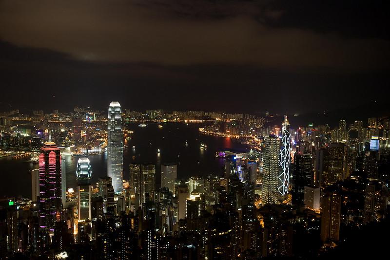 Hong Kong Skyline night from Victoria Peak (2), Hong Kong, China (11-8-08).psd