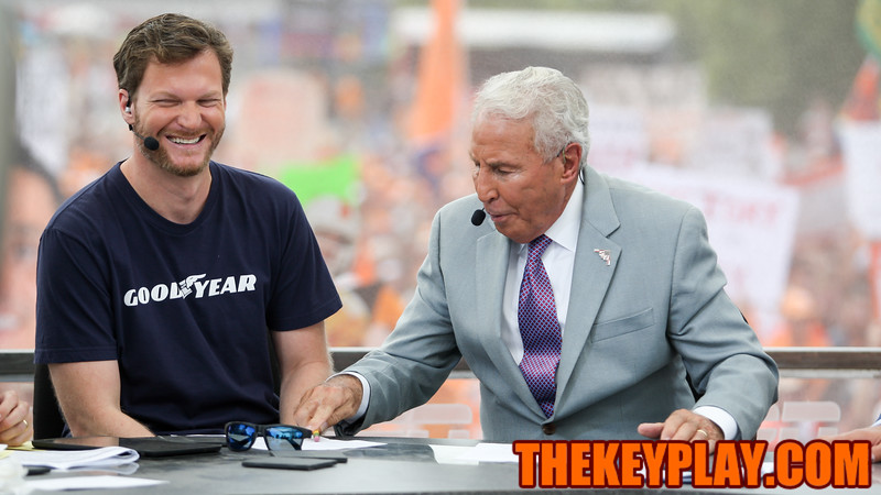 Dale Earnhardt Jr. joins the ESPN College Gameday crew as a guest picker during the show's final segment. (Mark Umansky/TheKeyPlay.com)