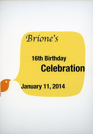 Brione's 16th Birthday Celebration, January 11, 2014