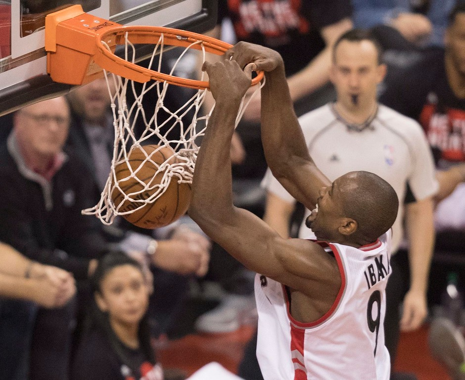 . Toronto Raptors\' Serge Ibaka dunks against the Cleveland Cavaliers during the first half of Game 3 of an NBA basketball second-round playoff series in Toronto on Friday, May 5, 2017. (Fred Thornhill/The Canadian Press via AP)