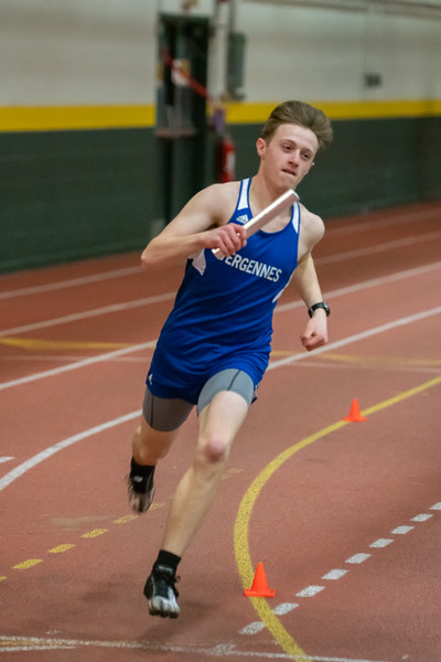 Xander DeBlois runs the 4x400 relay. VUHS won the event with a time of 3:45.11. Vermont Division II Indoor Track State Championships - UVM Gutterson Field House - 2/16/2020