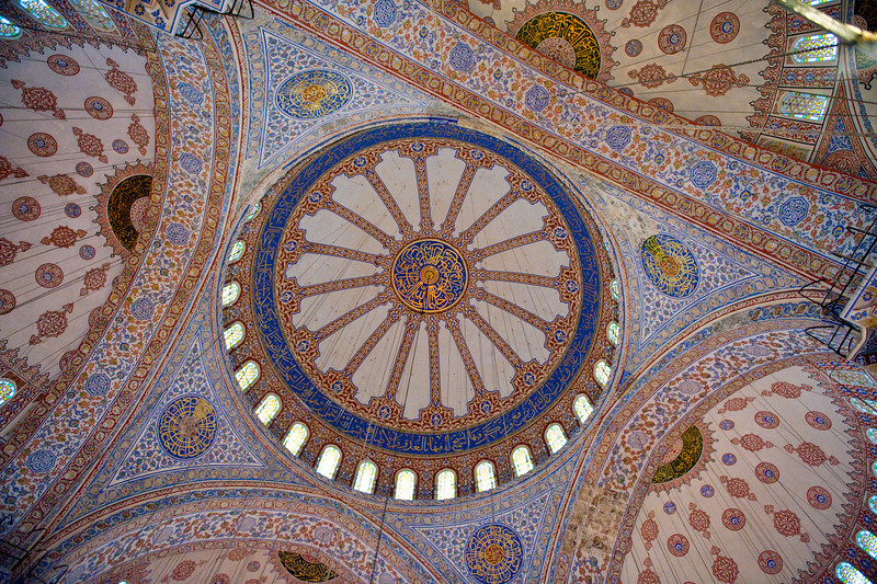 Ceiling of the Blue Mosque in Istanbul Turkey.