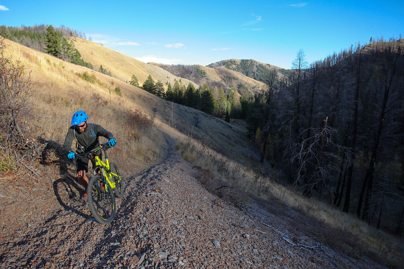 Pushing though a loose section of trail on the North Fork of Deer Creek.