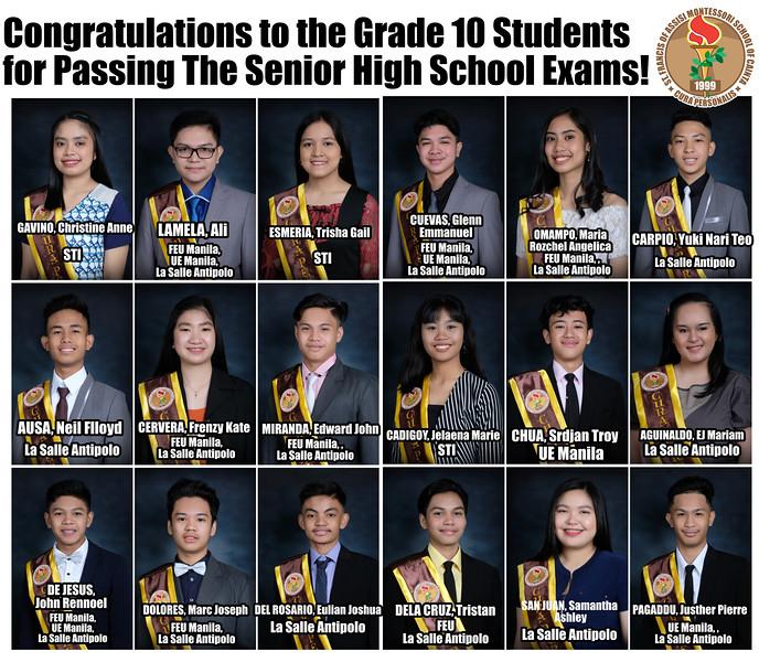 Grade 10 SHS Exam Passers 2019-2020