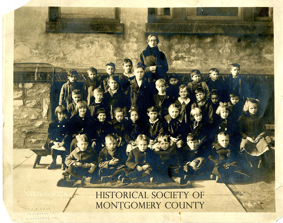 . This photo from the Historical Society of Montgomery County shows teacher Bessie D. Nase\'s class in 1920 at the Henry Street School in Conshohocken.