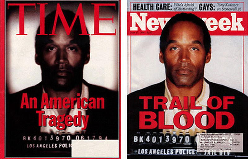 """. June 1994:  This digitally altered photograph of OJ Simpson appeared on the cover of Time magazine shortly after Simpson\'s arrest for murder. This photograph was manipulated from the original mug-shot that appeared, unaltered, on the cover of Newsweek. Time magazine was subsequently accused of manipulating the photograph to make Simpson appear \""""darker\"""" and \""""menacing\"""".   SOURCE: http://www.cs.dartmouth.edu/farid/research/digitaltampering/"""