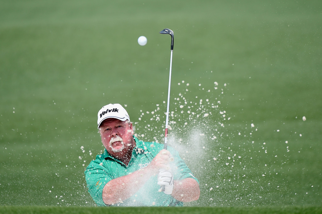 . Craig Stadler of the United States hits a shot out of the bunker on the second hole during the second round of the 2014 Masters Tournament at Augusta National Golf Club on April 11, 2014 in Augusta, Georgia.  (Photo by Harry How/Getty Images)