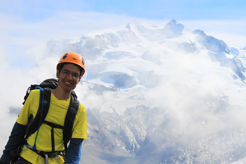 Adil getting ready to climb with Monte Rosa in the background