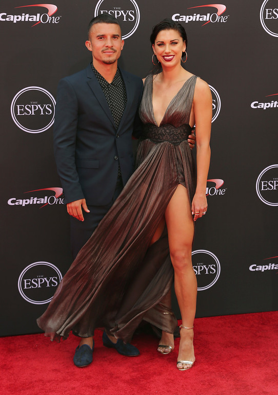. LA Galaxy\'s Servando Carrasco, left, and U.S. women\'s national soccer team player Alex Morgan arrive at the ESPY Awards at Microsoft Theater on Wednesday, July 18, 2018, in Los Angeles. (Photo by Willy Sanjuan/Invision/AP)