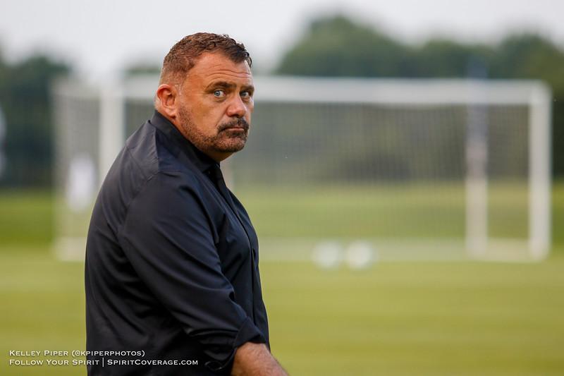 Washington Spirit head coach Richie Burke at Maureen Hendricks Field in Boyds, MD, on July 20, 2019.