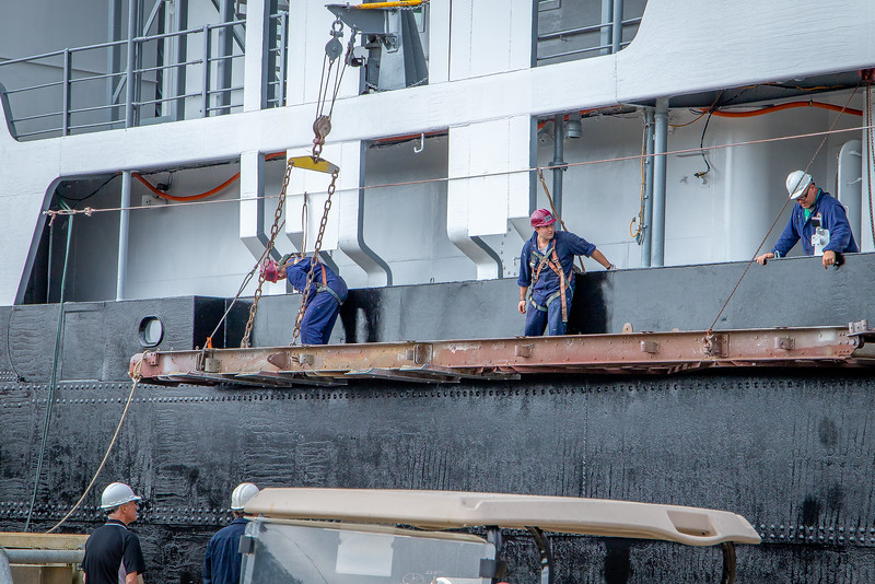 Ships Gangway is Stowed Ready For Sea