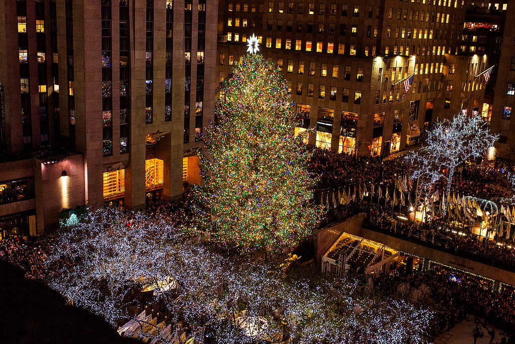. The Rockefeller Center Christmas tree stands lit at Rockefeller Center during the 85th annual Rockefeller Center Christmas tree lighting ceremony, Wednesday, Nov. 29, 2017, in New York. (AP Photo/Andres Kudacki)