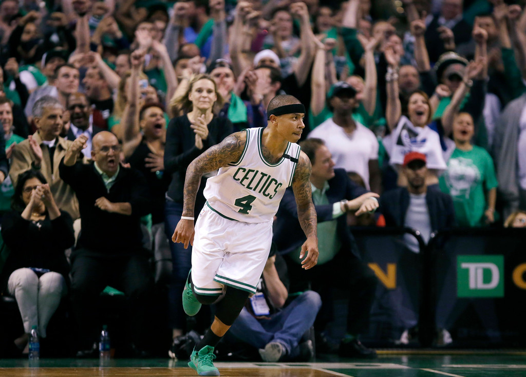 . Boston Celtics fans cheer as guard Isaiah Thomas runs up court after a made basket during the fourth quarter of Game 7 of a second-round NBA basketball playoff series against the Washington Wizards, Monday, May 15, 2017, in Boston. (AP Photo/Charles Krupa)