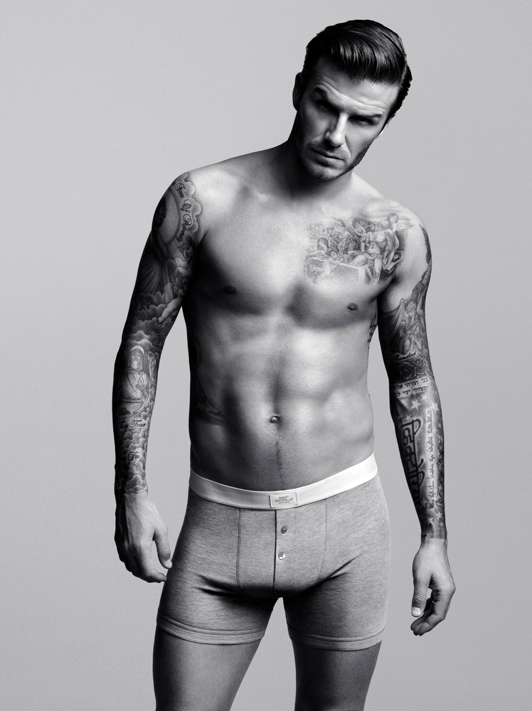 . In this photo released by H&M on Tuesday, Jan. 18, 2012, English soccer star David Beckham poses for the  David Beckham Bodywear Collection for H&M advertising campaign. H&M will debut a 30-second ad during the Super Bowl featuring Beckham and his collection.  (AP Photo/H&M)