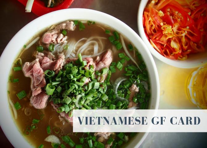 vietnam gluten free restaurant card