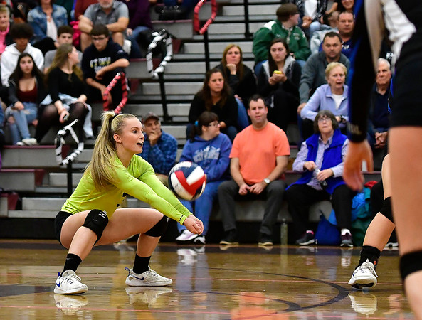 10/30/2019 Mike Orazzi | StaffrBristol Eastern's Rebecca Bender (3) during Wednesday night's volleyball match with Bristol Central.