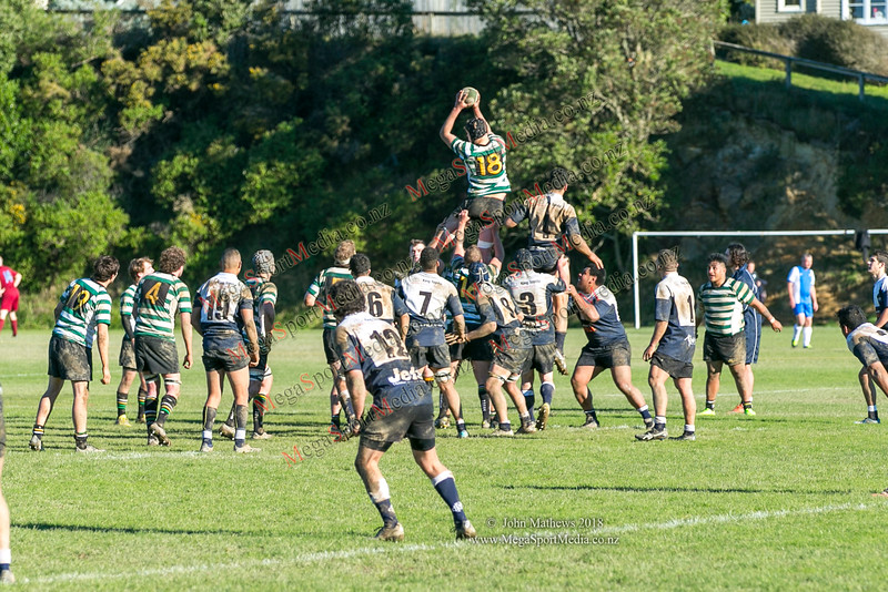 Action from the Wellington Premier reserve rugby union match (Harper Lock Shield) between Old Boys University RFC (white) and Petone RFC (blue) at Nairnville Park, Wellington, New Zealand on 2 June 2018.    SCORE : Petone 17; OBU 24 Copyright John Mathews 2018 http://www.megasportmedia.co.nz
