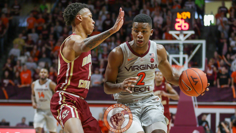 Landers Nolley dribbles the ball under heavy Boston College pressure late in the second half. (Mark Umansky/TheKeyPlay.com)