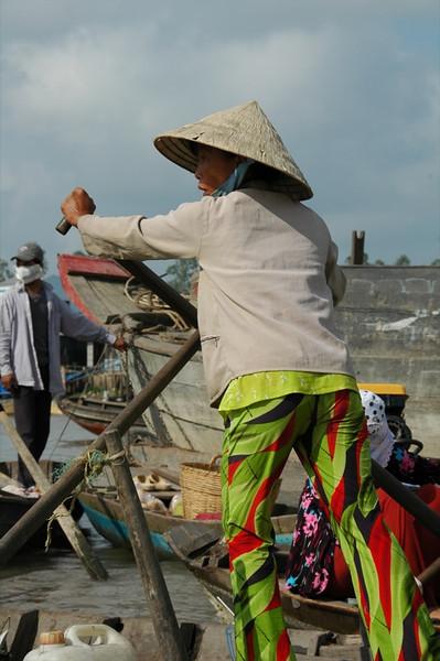 Rowing Away - Mekong Delta, Vietnam